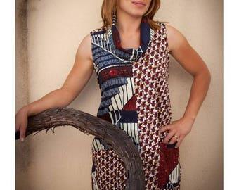 Top, tunic, tank top, effect draping cowl, cotton, bird motif