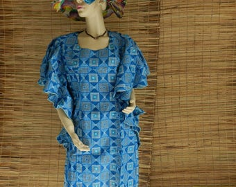 African wax fabric blue vintage robe caftan tunic dress size unique (36 to 40)