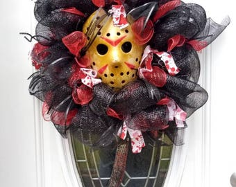 Friday The 13th Deco Mesh Wreath