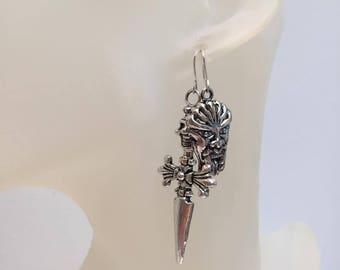 Skull sword asymmetrical earrings