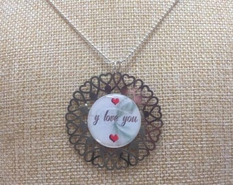 "Necklace cabochon ""will love you"""
