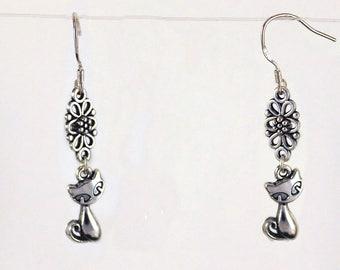 """"""""""" Cat dog rose""""earrings"""