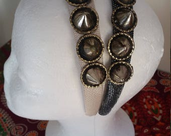 Tribal Fusion Belly Dance Spike Headband, Costume Headdress, Dark Silver Option