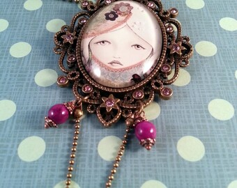 """Necklace pendants with Cabochon """"Alone"""""""