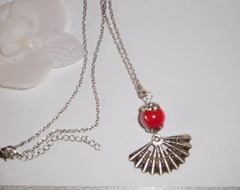 Fancy fan and Red ceramic Bead Necklace