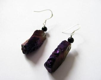 Boucles d'oreilles en quartz titane reflets  Gris/marron