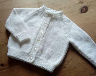 Pretty cardigan for newborn 0-3 months - white - FREE UK P&P