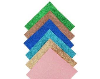Pack de 6 toiles glitter spécial créa bijoux ou appliques micro pailletées 12/12 cm chaque