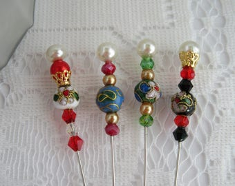 Vintage inspired handmade STICK PINS. Cloisonne beads Scrapbook, hijab, lapel pin, scarf or hat pin