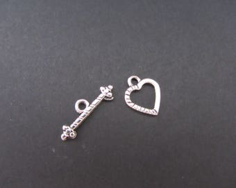 Clasp silver colored heart shaped Toggle