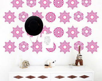 Boho Floral Wall Decal-Boho Wall Decals-Wall Stickers-Baby Decor-Flower Vinyl Decals-Wall Art Murals Bedroom-Vinyl Wall Decal-Nursery Decor