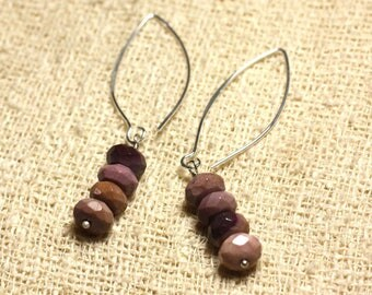 Earrings hooks 40mm - 8mm faceted Moukaite Jasper 925 Silver