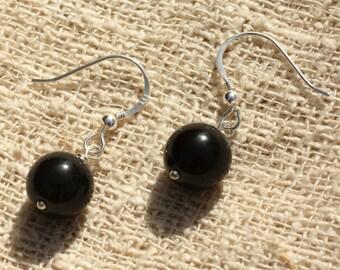 Earrings 925 sterling silver and obsidian black 10mm