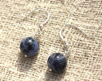 Earrings 925 Silver - Sodalite 10mm