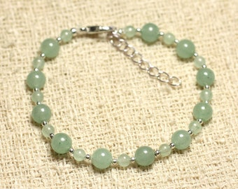 Bracelet 925 sterling silver and stone - green Aventurine 4 and 6mm