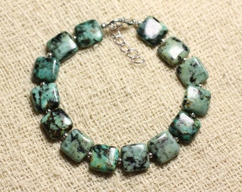 Bracelet 925 sterling silver and semi precious - Turquoise African square 10 mm