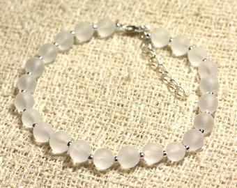Bracelet 925 sterling silver and stone - rock crystal Quartz matte 6mm