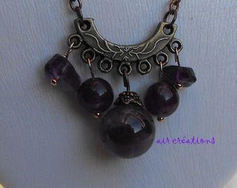 CL.0260 necklace Amethyst beads on copper chain