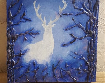 Acrylic painting deer in the forest