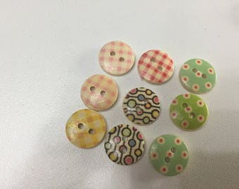 Set of 9 buttons wood