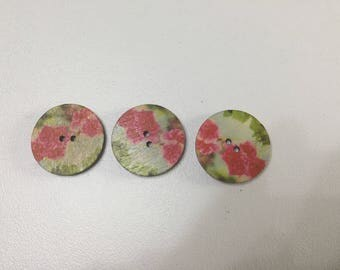 Set of 3 wood buttons sewing buttons