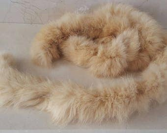 135 cm round braid made of real fur rabbit width 5 cm