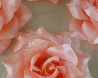 set of 4 appliques flowers coral 8/9 cm