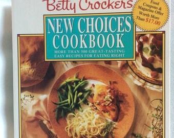 Vtg Betty Crocker, Betty Crocker's New Choices Cookbook, Bridal shower kitchen gift, wedding gift, housewarming gift, 90s cookbook, spiral