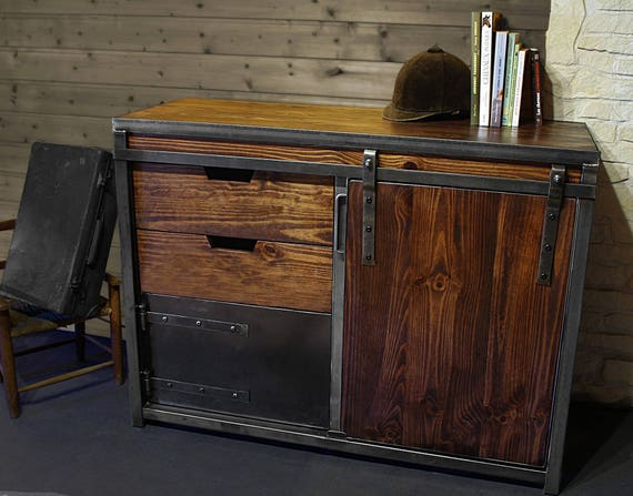 buffet commode fer et bois. Black Bedroom Furniture Sets. Home Design Ideas