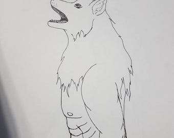 Wolfman- drawing, pen/ink, original, not framed, black and white, 9x12, simple