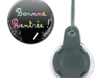 Zipper Badge 25 mm - good school Blackboard chalk color Childs school gift