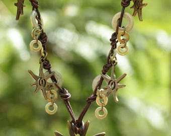 Necklace ethnic brown leather and bronze metal beads