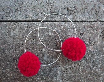 Handmade Pom Pom Earrings