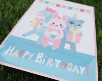 Blue and pink child's birthday card