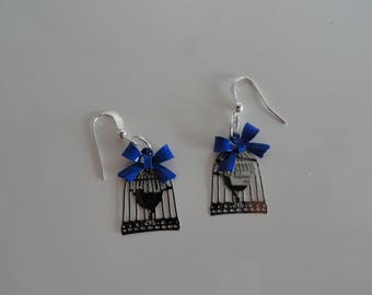 Silver Bow and bird cage earrings