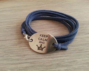 Keep Calm Blue Suede bracelet