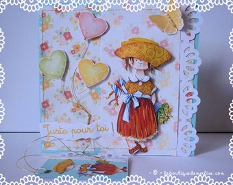 Child card: balloons and flowers