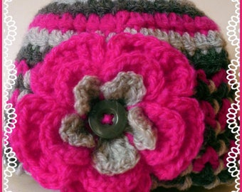 Striped beanie baby: pink flashy and grey with big flower 3/6 months