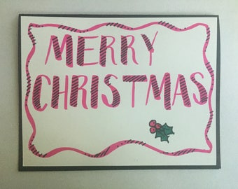 Hand lettering Merry Christmas card