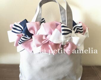 Ballerina Bag/ tote bag/ kids lesson bag/ribbon bag