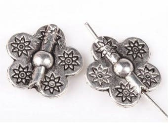 15 pearls flowers 15 mm silver R18
