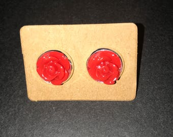 10mm red rose earrings
