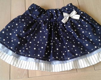 Skirt with Ruffles - cotton: white/blue - stars and stripes - 8/10 years