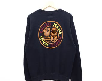 RARE!! Vintage Kenzo Jeans Multicolor Spellout Sweatshirt Embroidery Made In Japan Pullover Sweater Hoodies