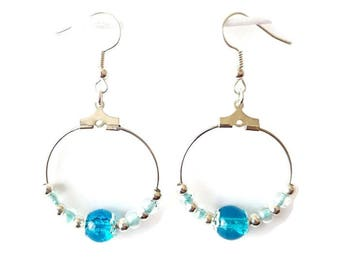 Earrings turquoise blue beads and silver beads