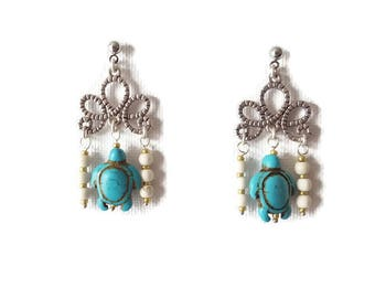 Pearl Earrings turtles turquoise and ivory