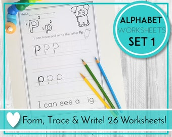 Alphabet Trace Worksheets, Writing Practice, ABC Printables, Preschool & Kindergarten Learning, Teaching Education Resource, Kids Activities