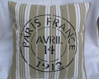 Vintage pillow painted real ticking old removable with pattern