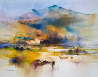"""Hamlet in the heart with Corbières"" watercolor landscape"