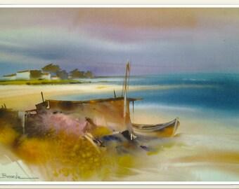 """Landscape watercolor """"Ballad of ponds, lazing program"""""""